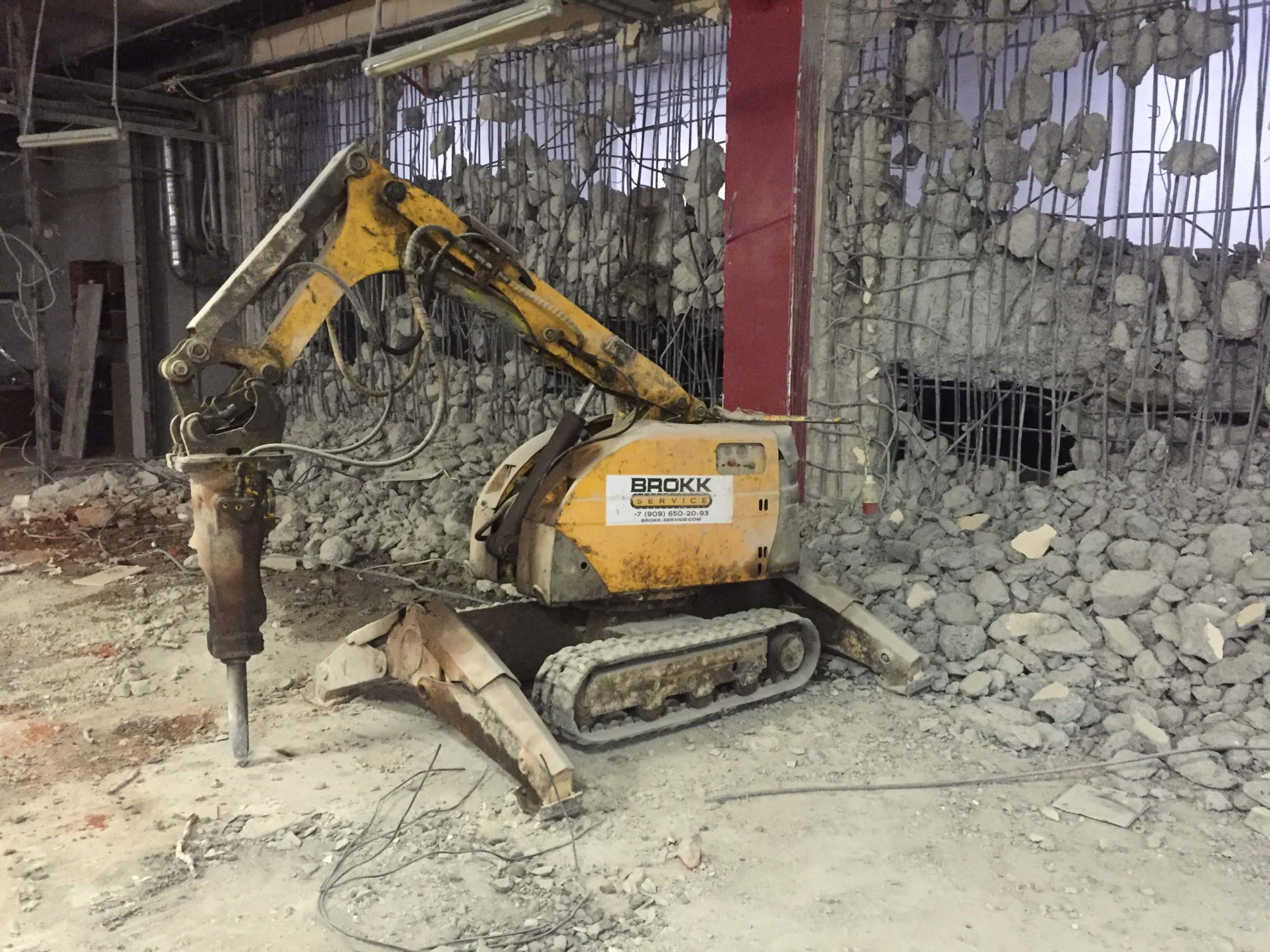 Демонтаж здания роботом Brokk